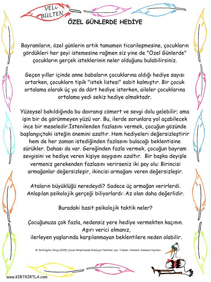 VELİ BÜLTENİ,ÖZEL_GÜNLERDE_HEDİYE_KIRTKIRTLA