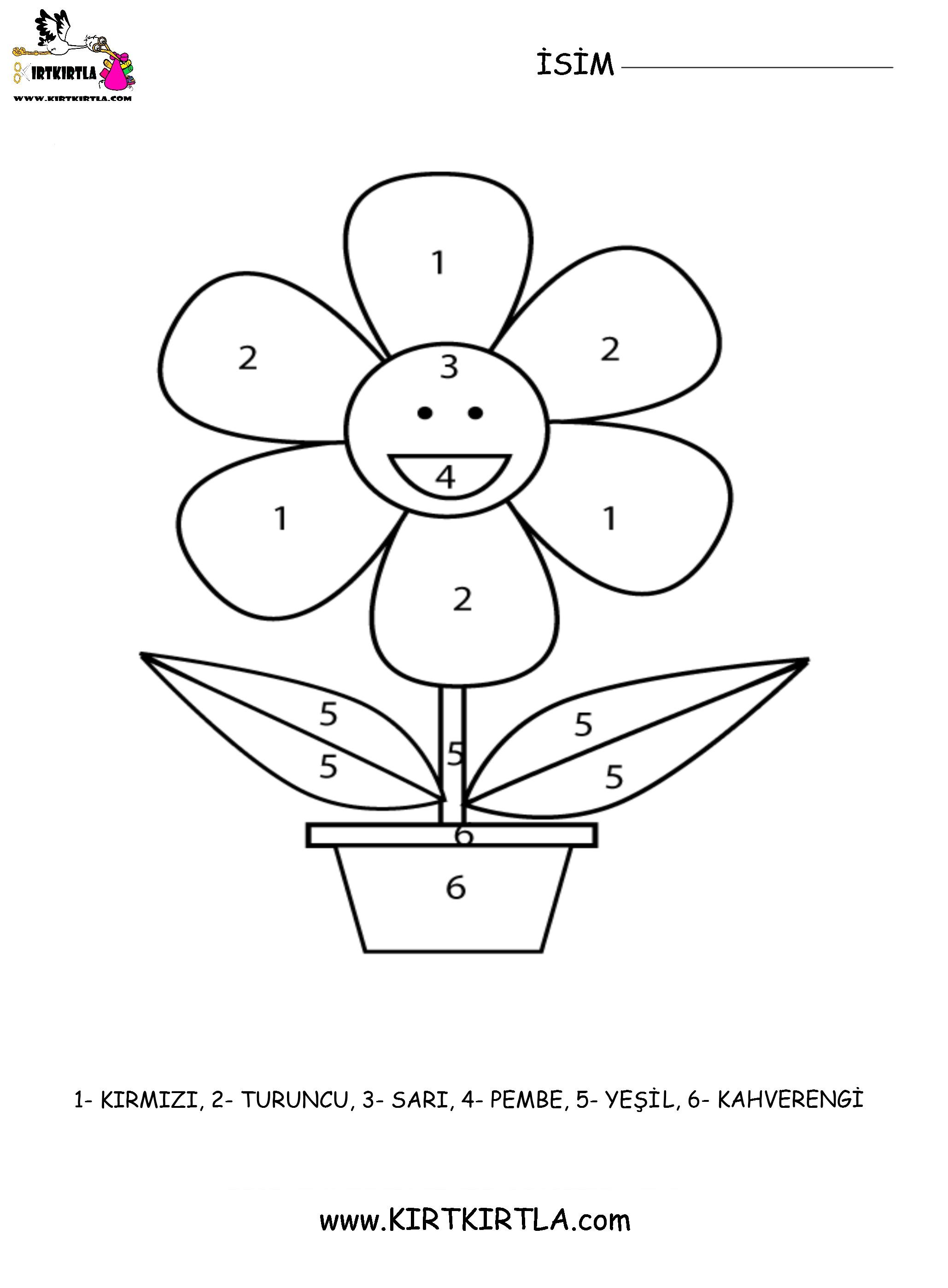 çiçek Boyama Sayfasi Sayilar Kirtkirtlacom