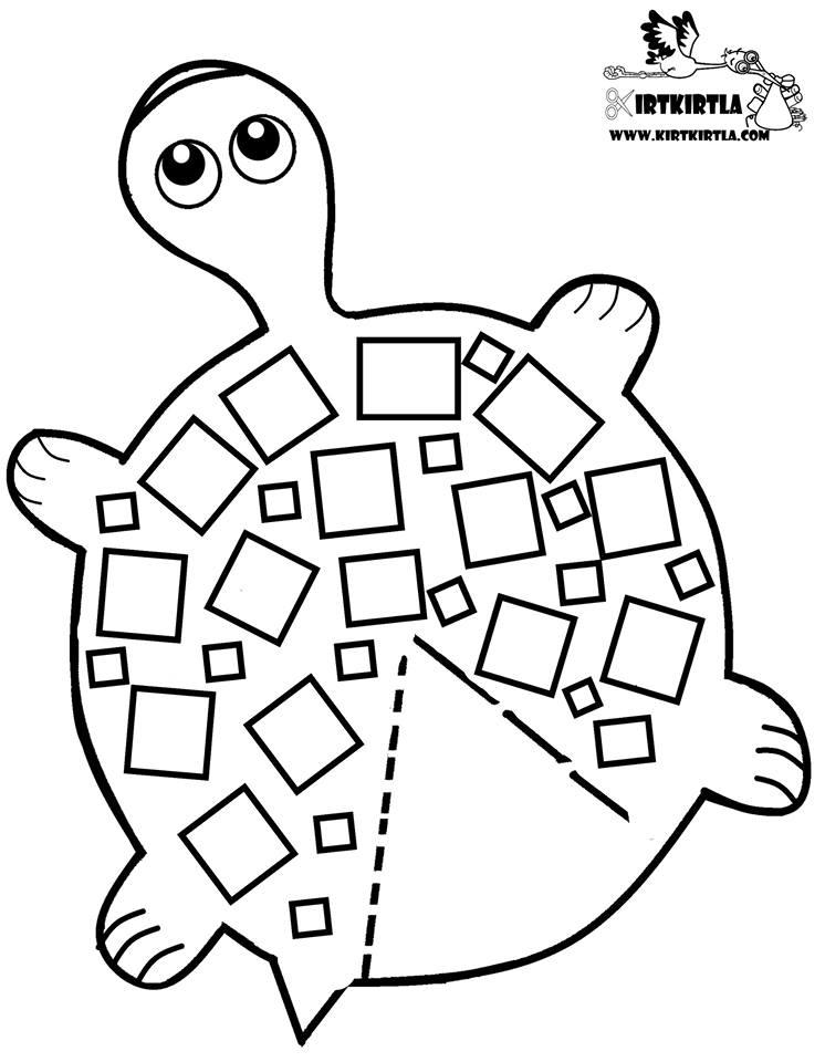 3 Boyutlu Kaplumbaga Boyama Sayfası Okul öncesi Etkinlik Kırtkırtla