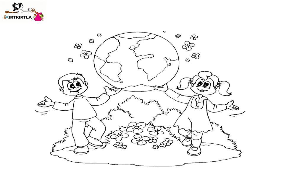 Dünya Boyama Sayfası çocuklar Için Sorumluluk Haftası Boyama örneği