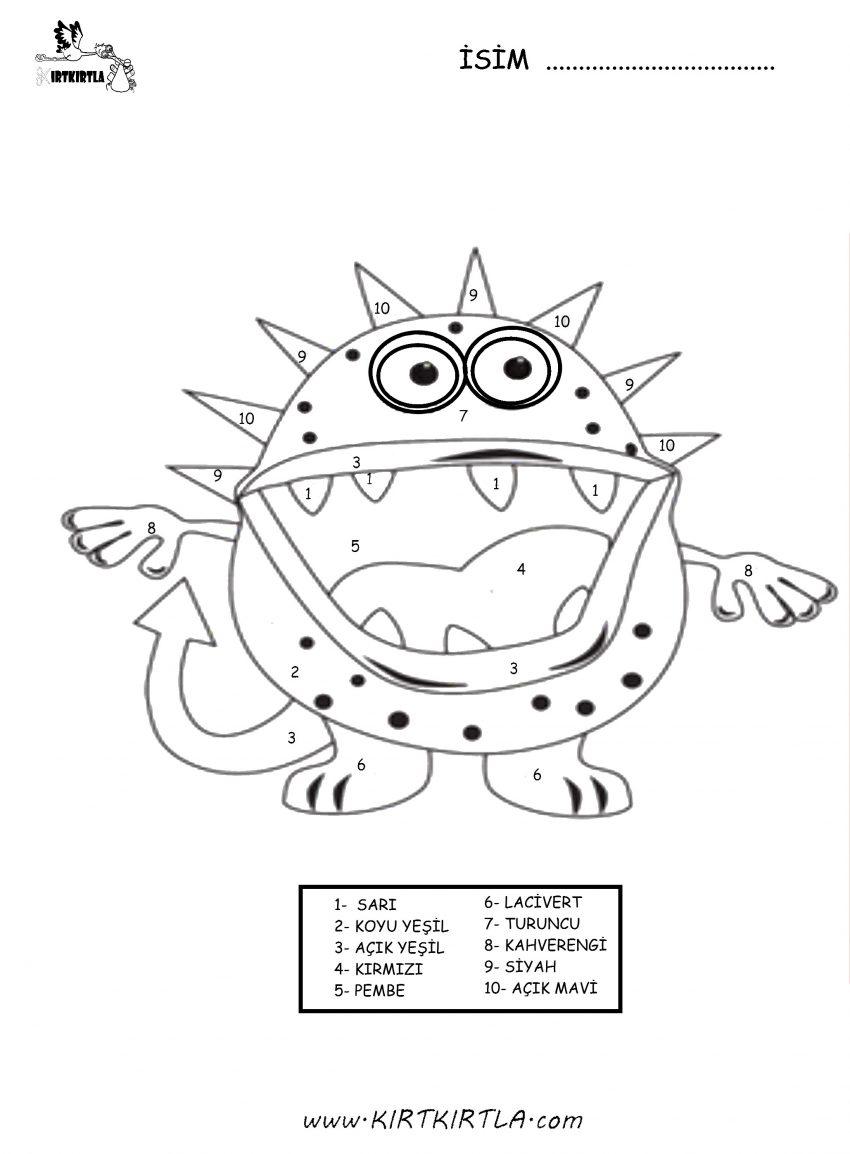 Rakamlarla Boyama Mikrop Okul Oncesi Etkinlik Kirtkirtla