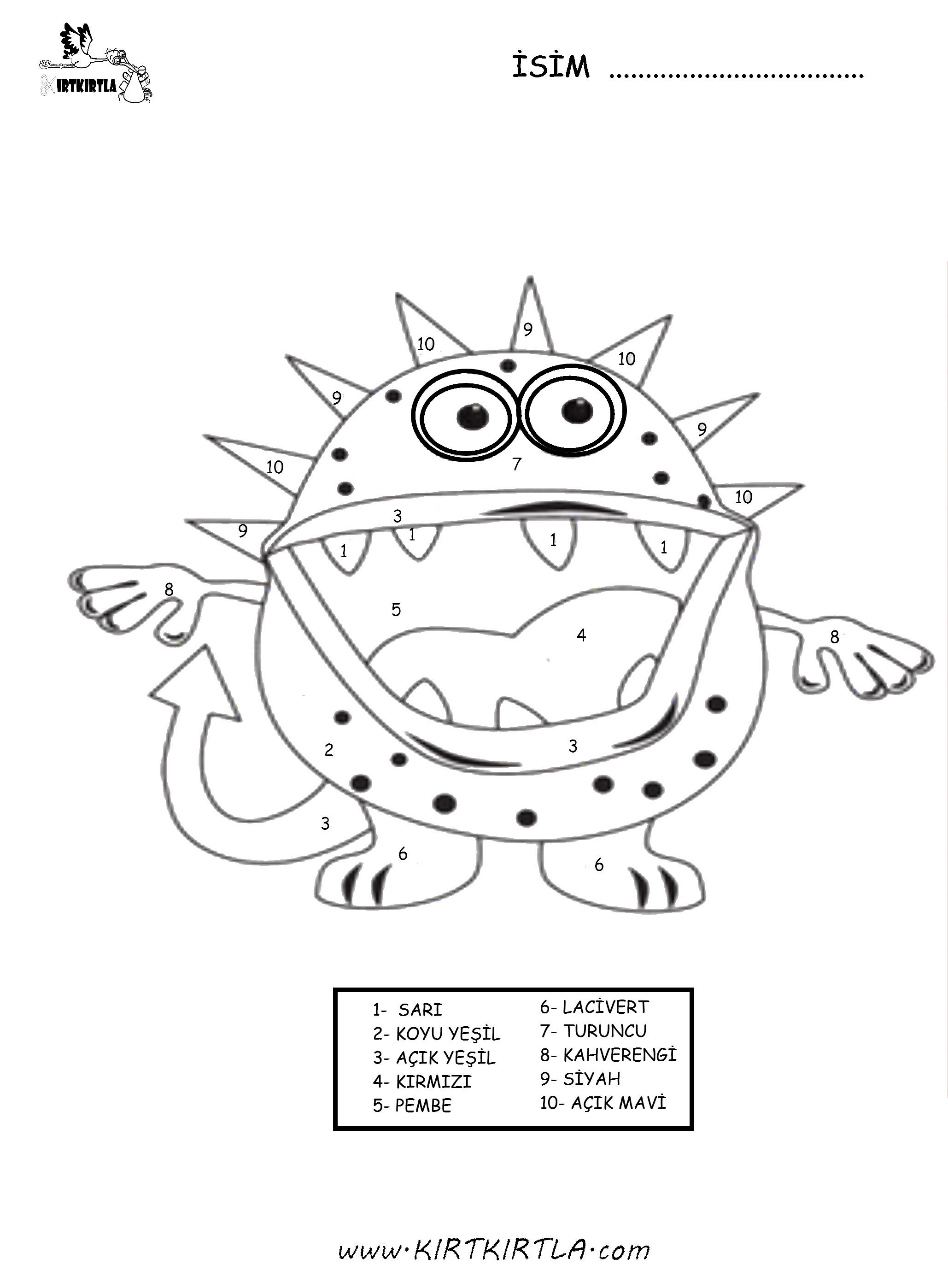 Rakamlarla Boyama Mikrop Okul öncesi Etkinlik Kirtkirtla