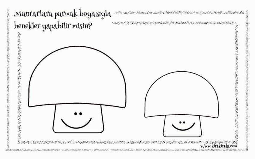 Parmak Baskisi Ile Mantar Okul Oncesi Calisma Sayfasi Boyama