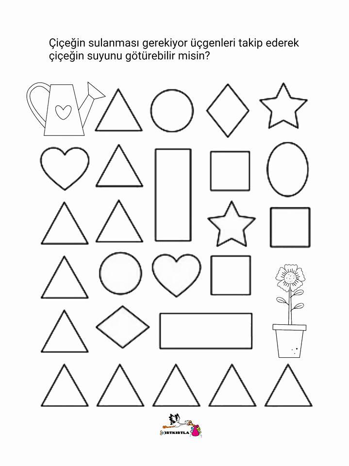 şekiller çalişma Sayfasi üçgen Okul öncesi Kirtkirtla