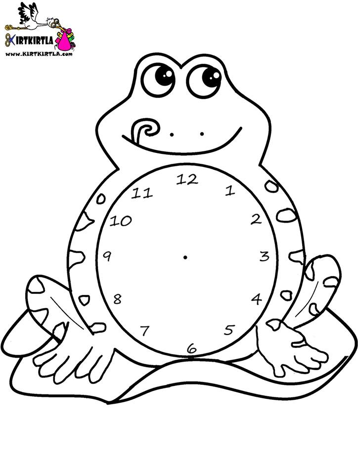 Kurbaga Saat Boyama Sayfasi Okul öncesi Boyama Sayfası Kırtkırtla