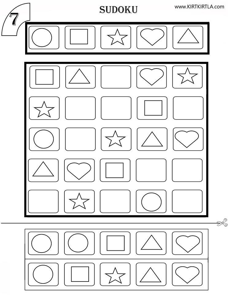 Sudoku 7 Okul öncesi Okuma Yazmaya Hazırlık çalışma Sayfaları Sudoku