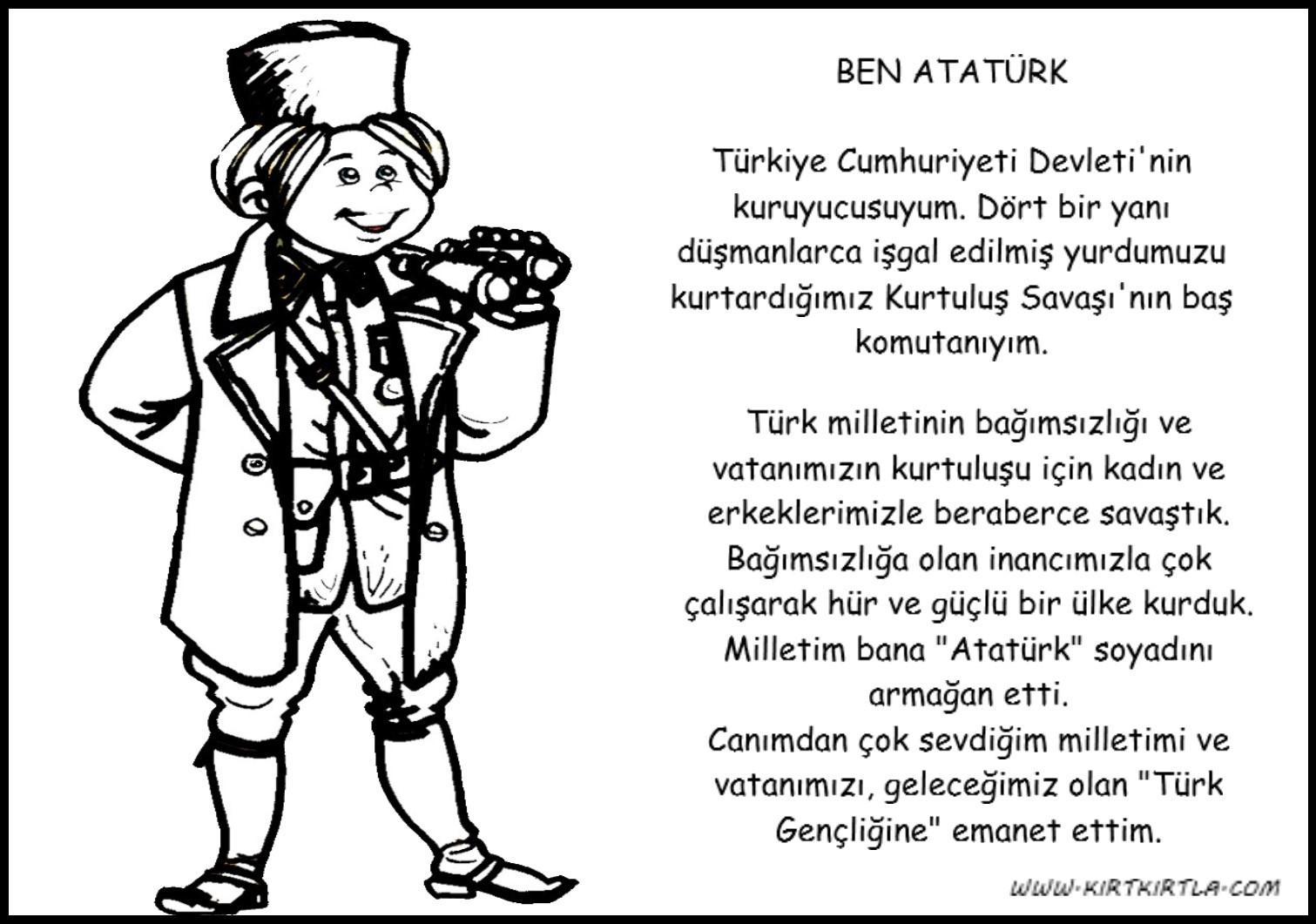 Ataturk Kimdir M Kemal Ataturk Boyama Sayfasi Kirtkirtla