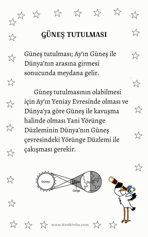 GÜNEŞ TUTULMASI - BİLGİ SAYFASI - KIRTKIRTLA