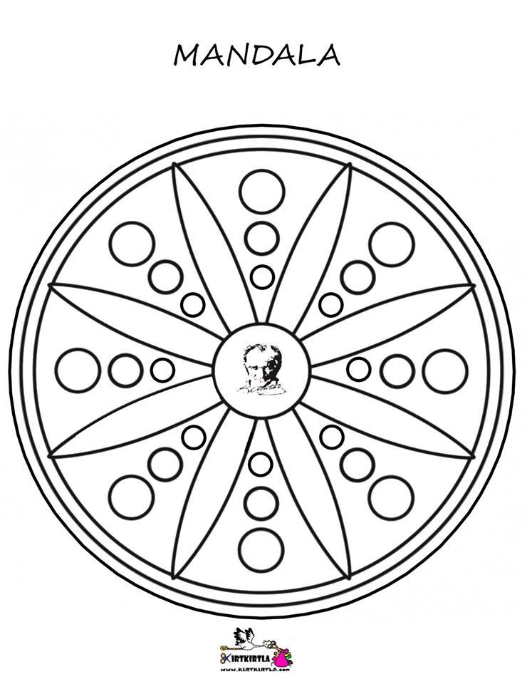 atatürk mandala boyama sayfası KIRTKIRTLA - MANDALA - ATATÜRK