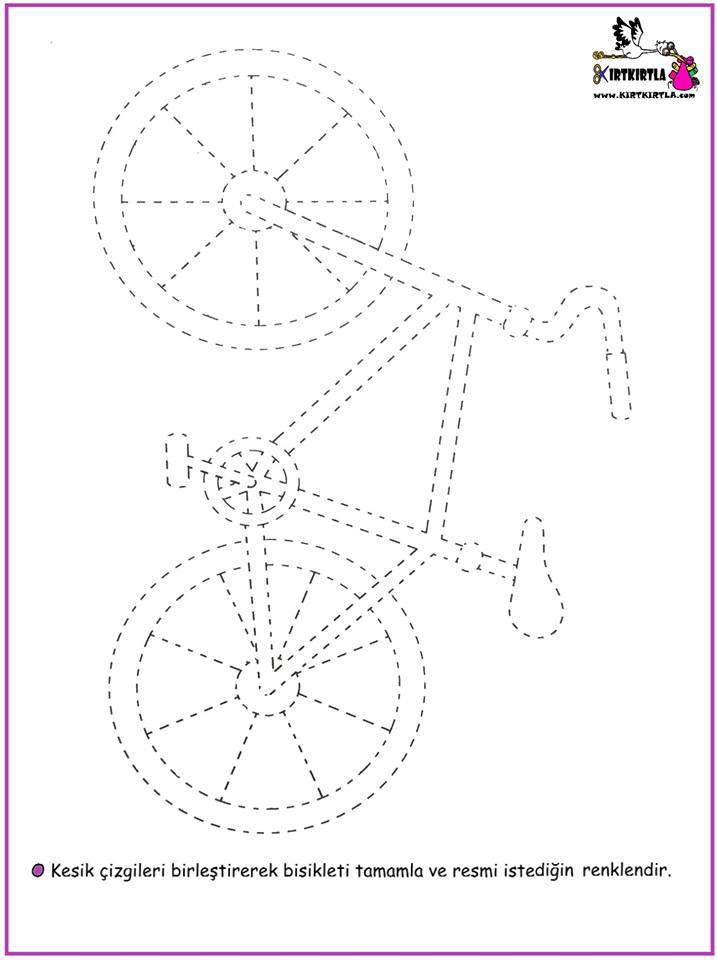 Bisiklet Tamamlama Okul öncesi çalişma Sayfasi Kirtkirtla