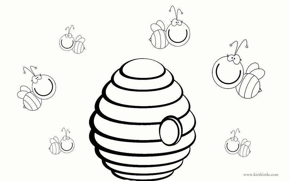 Arı Kovanı Boyama Sayfası Okul öncesi Boyama Sayfası Kırtkırtla