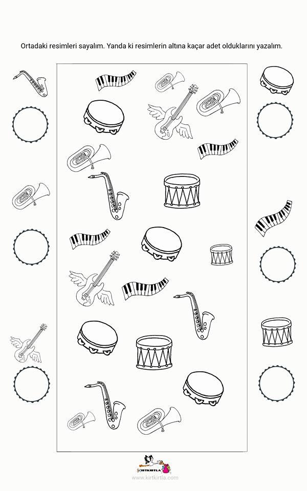 Muzik Aletleri Calisma Sayfasi Okul Oncesi Kirtkirtla