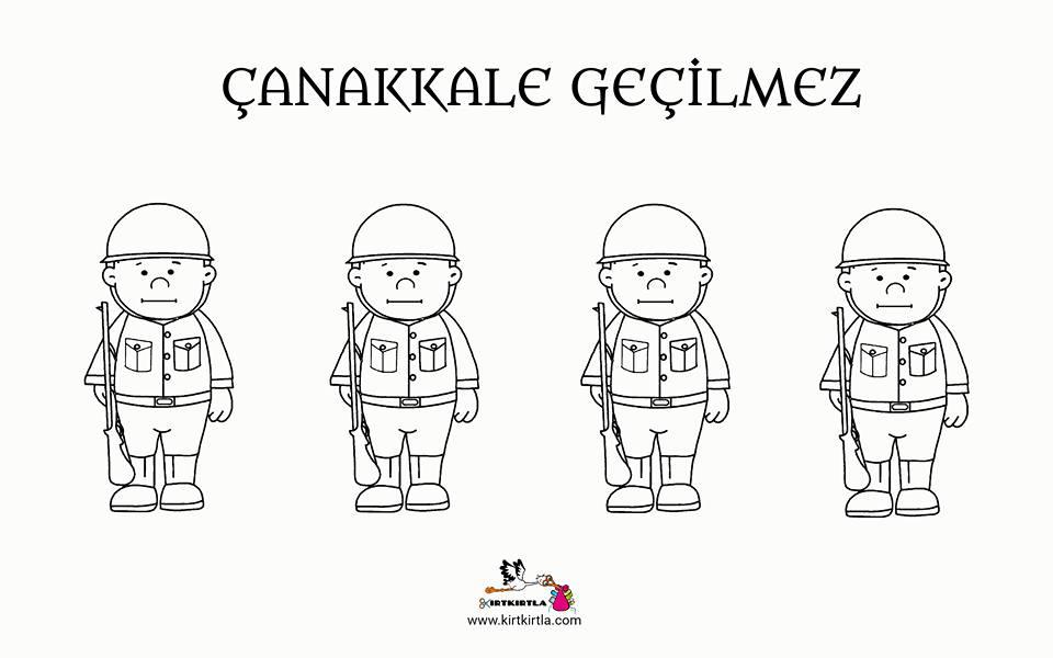 Canakkale Askerler Okul Oncesi Sanat Etkinligi Boyama Sayfasi