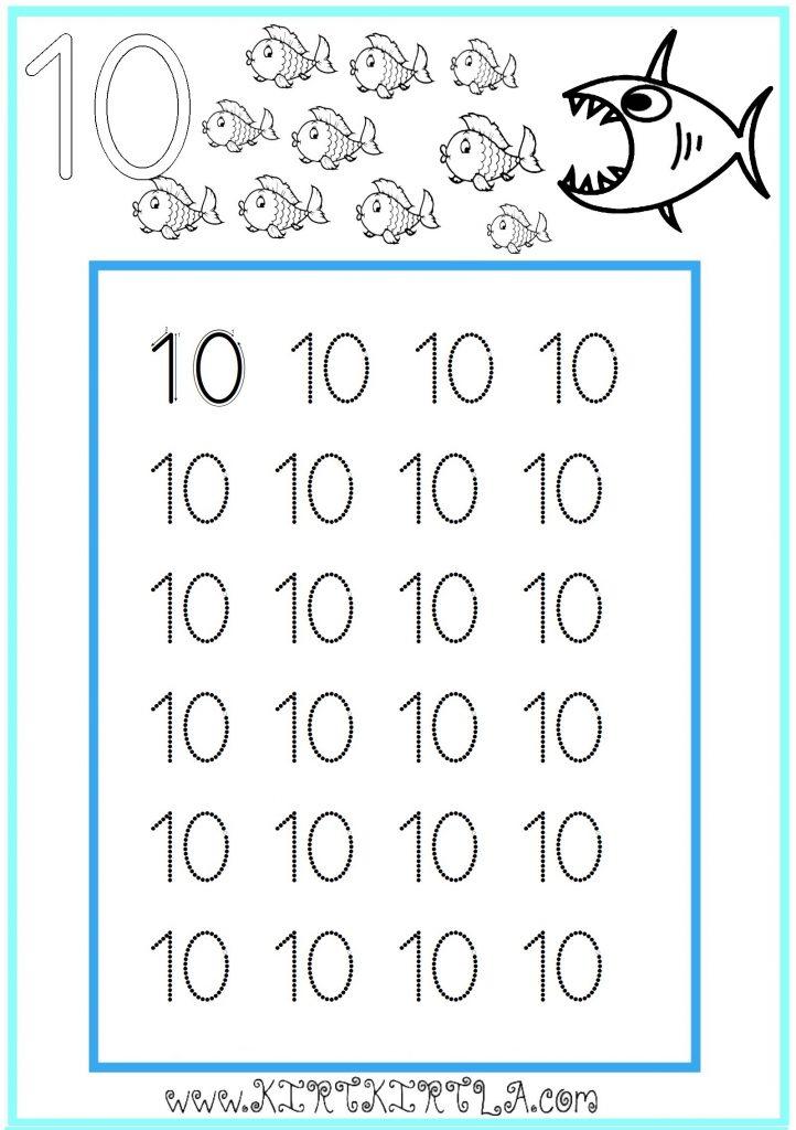 10 Sayisi Kirtkirtla 10 Sayisi Kesik Cizgi Tamamlama