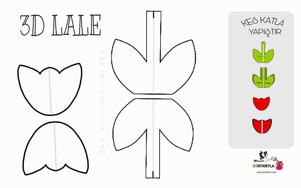 3d Lale Okul öncesi Sanat Etkinliği örnekleri Kirtkirtla