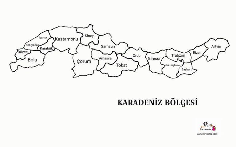 Karadeniz Bolgesi Turkiye Haritasi Bolgeler Haritasi Kirtkirtla