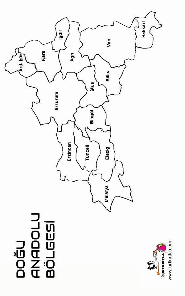 Doğu Anadolu Bölgesi Türkiye Haritası Bölgeler Haritası Kırtkırtla