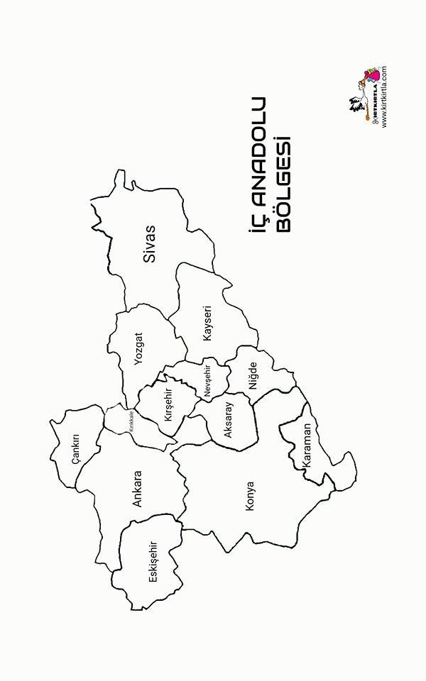 Ic Anadolu Bolgesi Turkiye Haritasi Bolgeler Haritasi Kirtkirtla