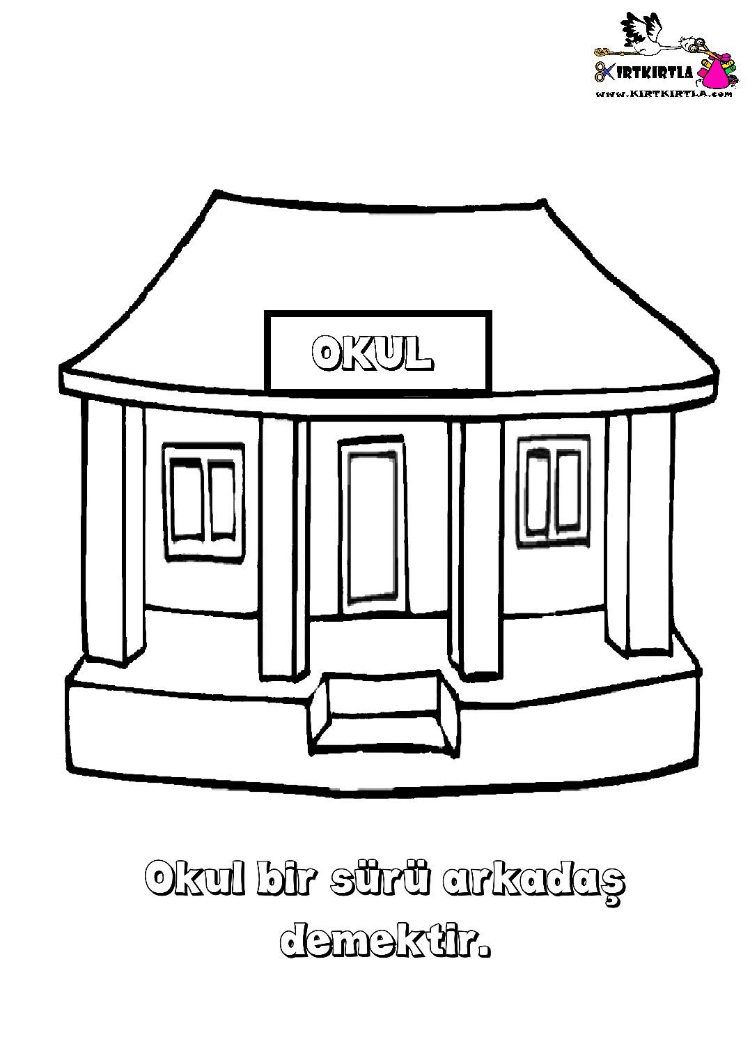 Okul Kirtkirtla Okul Boyama Sayfası Kirtkirtla
