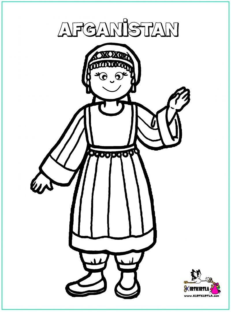 Afganistan çocuk Boyama Sayfası 23 Nisan Kirtkirtla