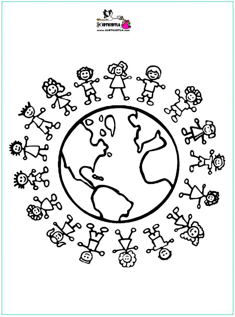 Dünya çocukları Boyama Sayfası23 Nisan Kirtkirtla