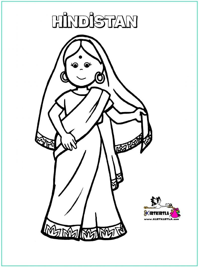 Hindistan çocuk Boyama Sayfasi Kirtkirtla