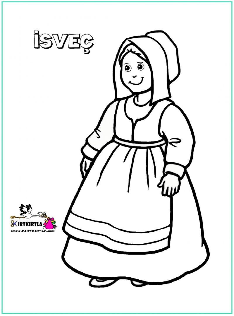 Isvec Cocuk Boyama Sayfasi 23 Nisan Kirtkirtla
