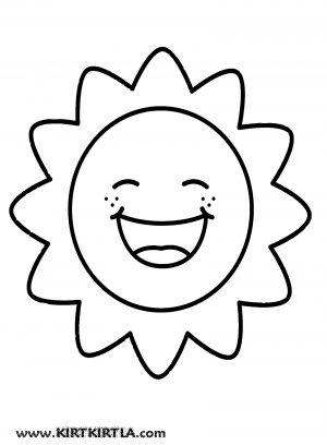Güneş Boyama Sayfası Okul öncesi Kirtkirtla