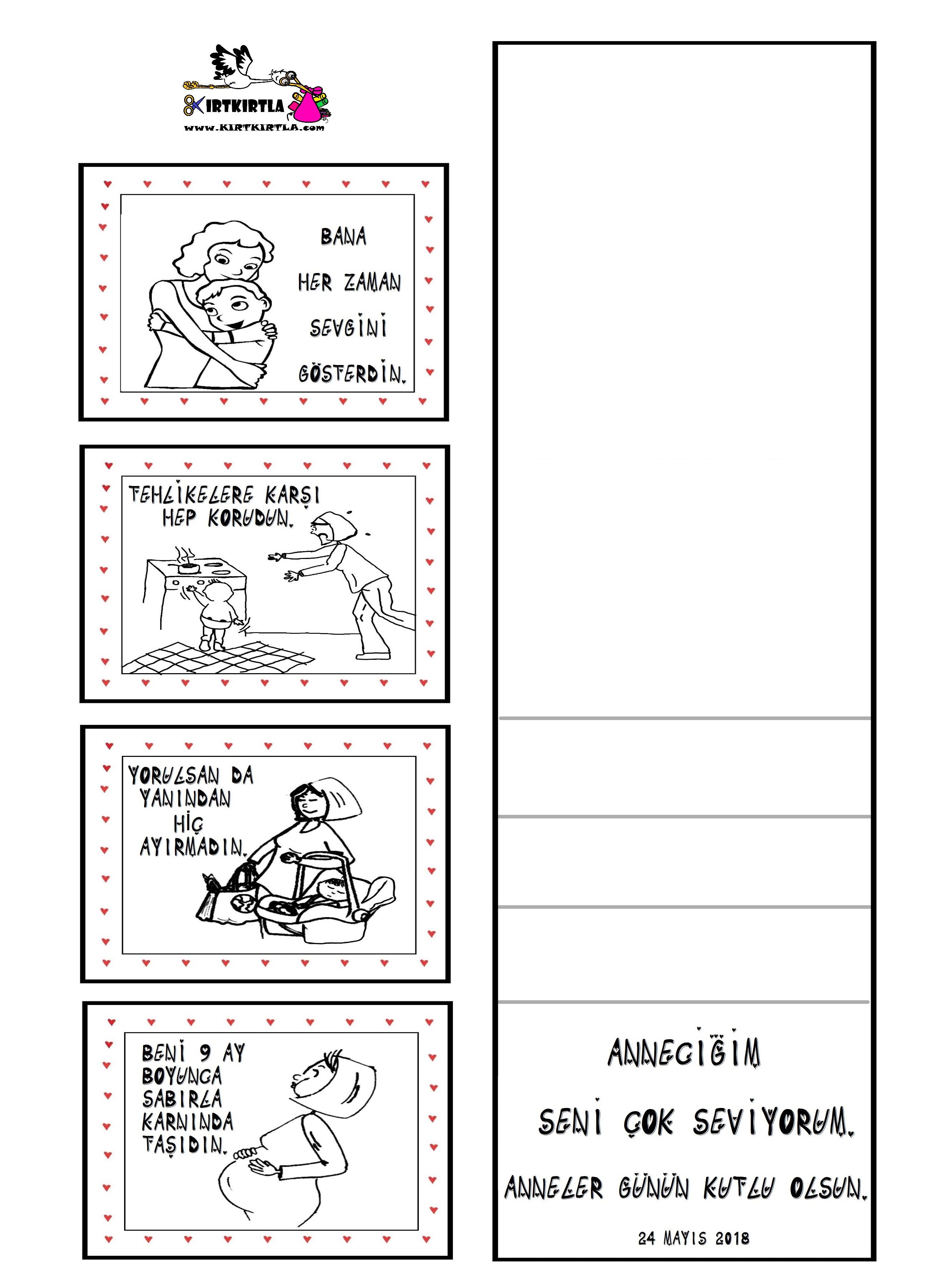 Anneler Günü 2 Anneler Günü Kart Yapımı Boyama Sayfası Kırtkırtla
