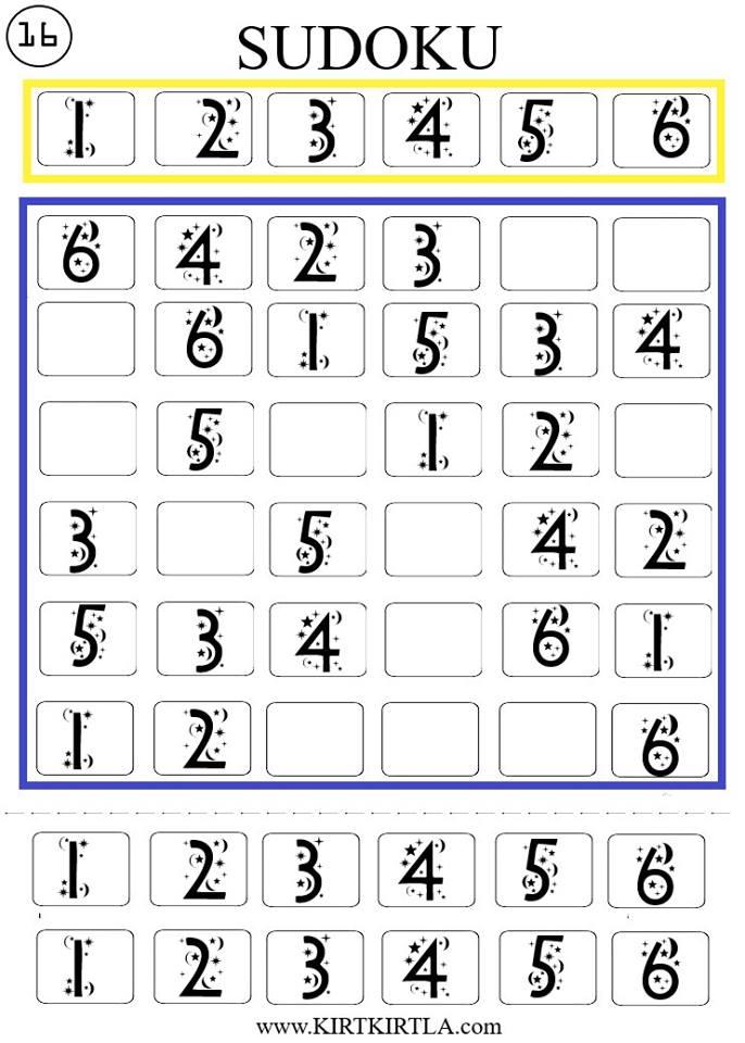 Sudoku Okul öncesi Zeka Gelişimi çalışma Sayfaları Eksik Tamamlama