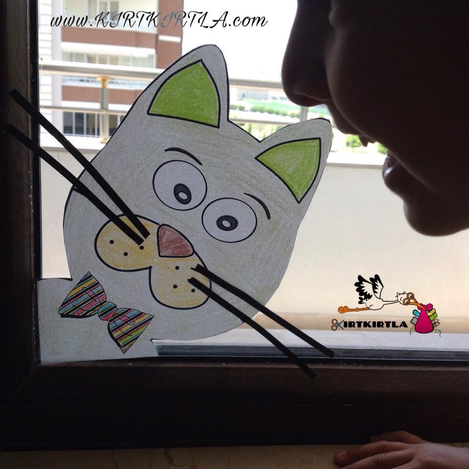 Kedi Sanat Etkinliği Okul öncesi Boyama Sayfalı Sanat Faaliyeti