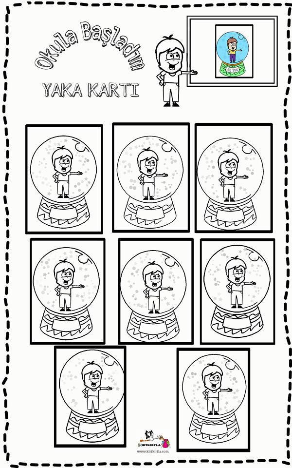 OKULA BAŞLIYORUM _ YAKA KARTI - 3 -OKUL ÖNCESİ