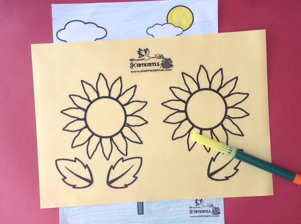 okul öncesi sanat etkinliği ayçiçeği makas çalışmaları kesme KIRTKIRTLA 11 - AYÇİÇEĞİ SANAT ETKİNLİĞİ