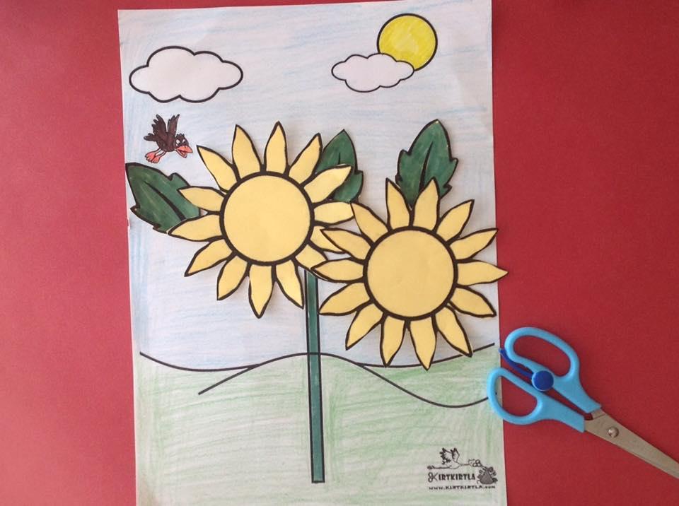 okul öncesi sanat etkinliği ayçiçeği makas çalışmaları kesme KIRTKIRTLA 13 - AYÇİÇEĞİ SANAT ETKİNLİĞİ