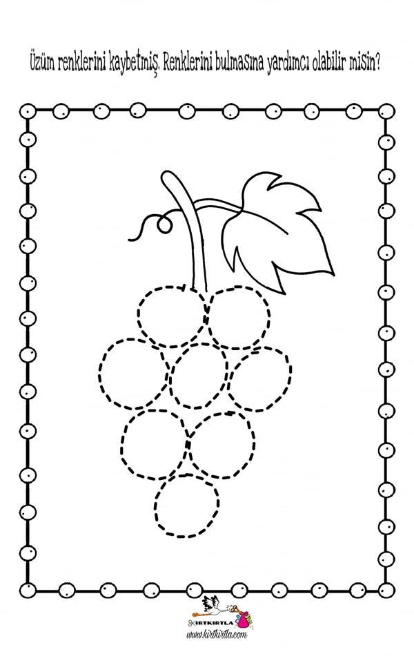 çizgi çalışması üzüm Okul öncesi Boyama Sayfası Preschool