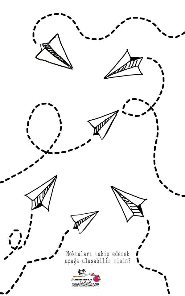 Kağit Uçak çizgi çalişmasi Okul öncesi Etkinlik Kırtkırtla
