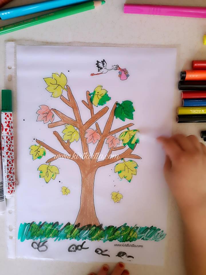 okul öncesi sonbahar etkinliği çocuklar için 6 KIRTKIRTLA - SONBAHAR AĞACI