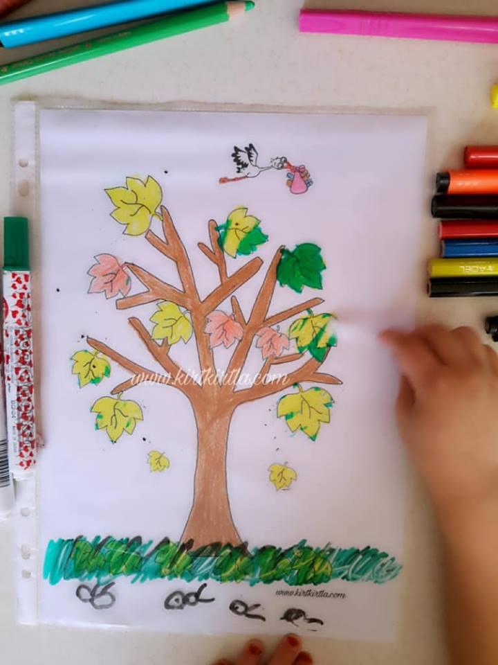 okul öncesi sonbahar etkinliği çocuklar için 7 KIRTKIRTLA - SONBAHAR AĞACI