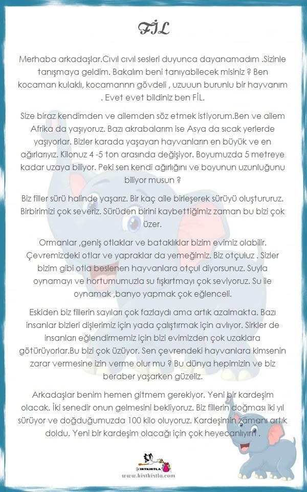 FİL HAKKINDA BİLGİLER - OKUL ÖNCESİ