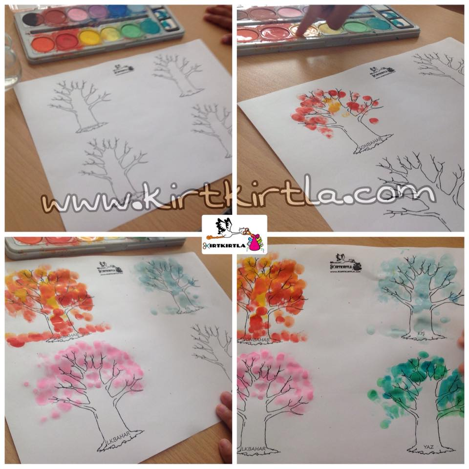 Mevsim Ağaçları Kirtkirtla Baskı çalışması örneği