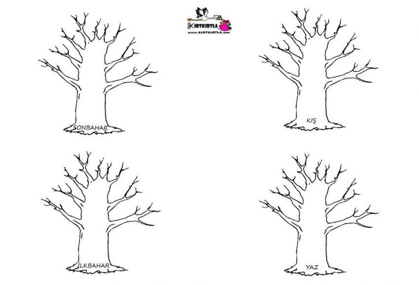 Mevsim Ağaçları Kirtkirtla Mevsimler Ağaç Boyama Sayfası