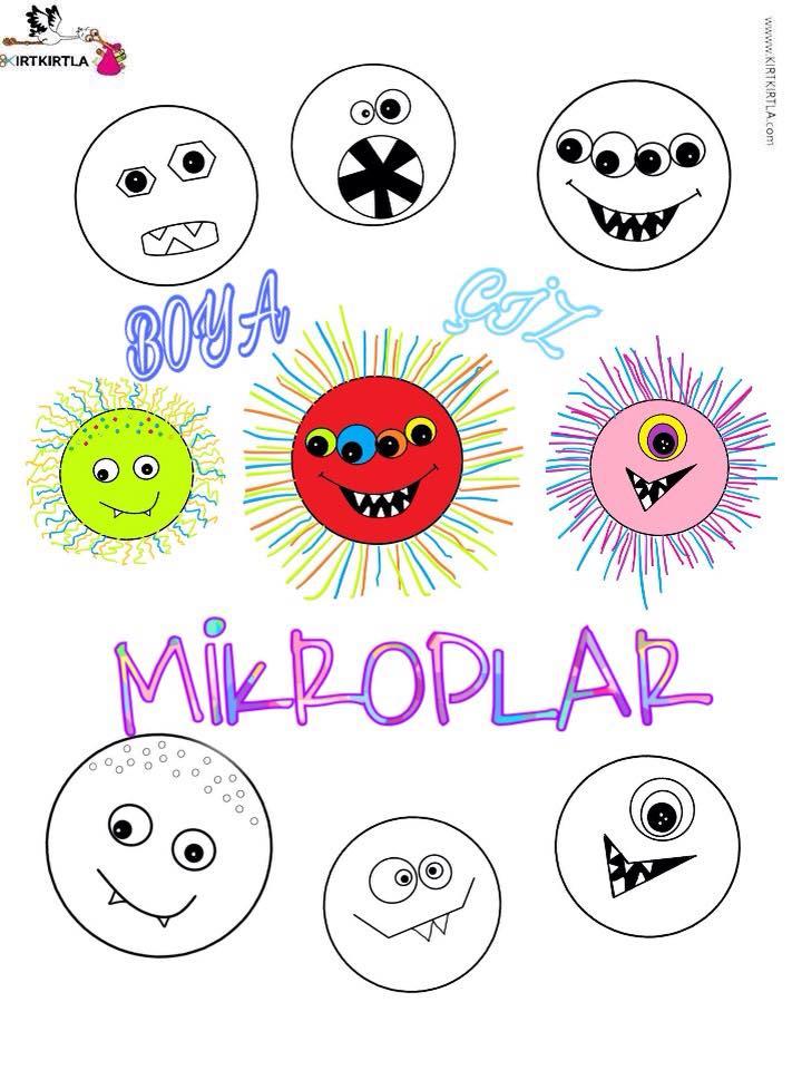 Mikroplar Boyama Sayfasi Kirtkirtla