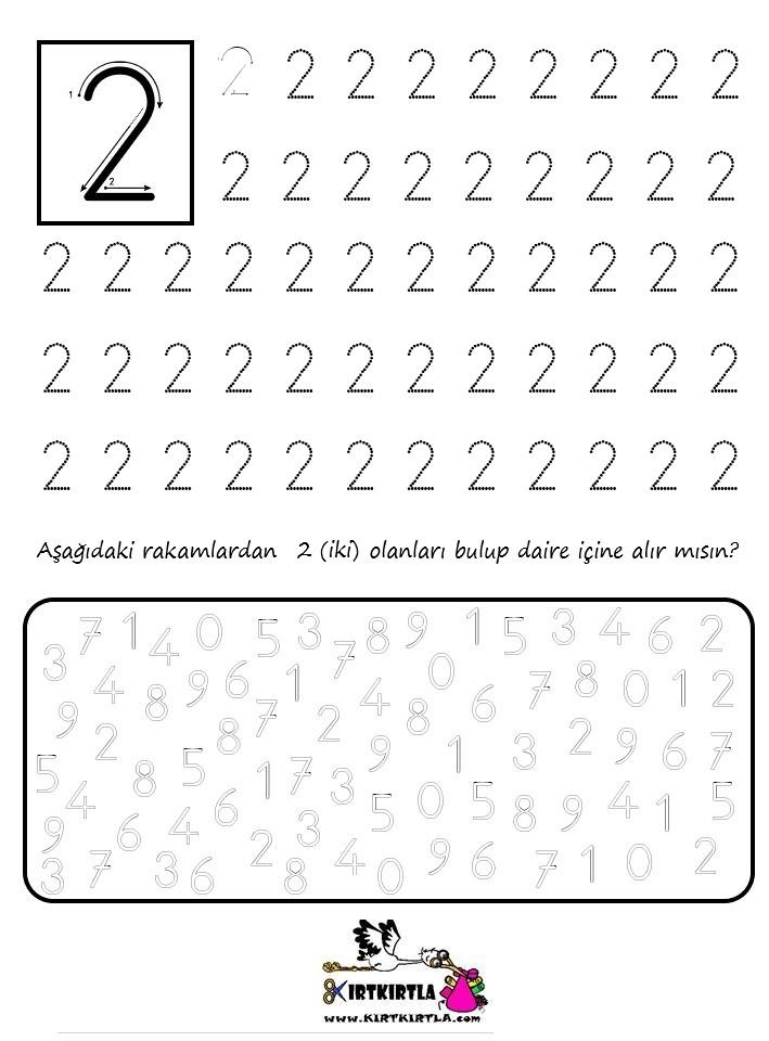 KIRTKIRTLA sayılar rakamlar çalışma sayfası 2 rakamı - RAKAMLAR- Çalışma Sayfası