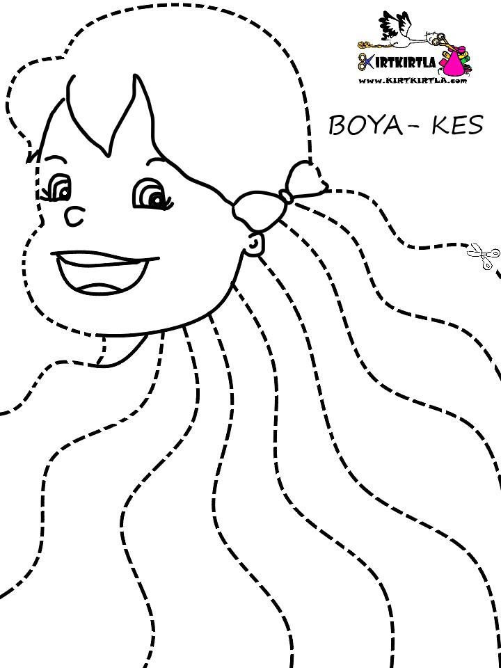 Makas çalışması Kızın Saçlarını Kesiyorum Kirtkirtla
