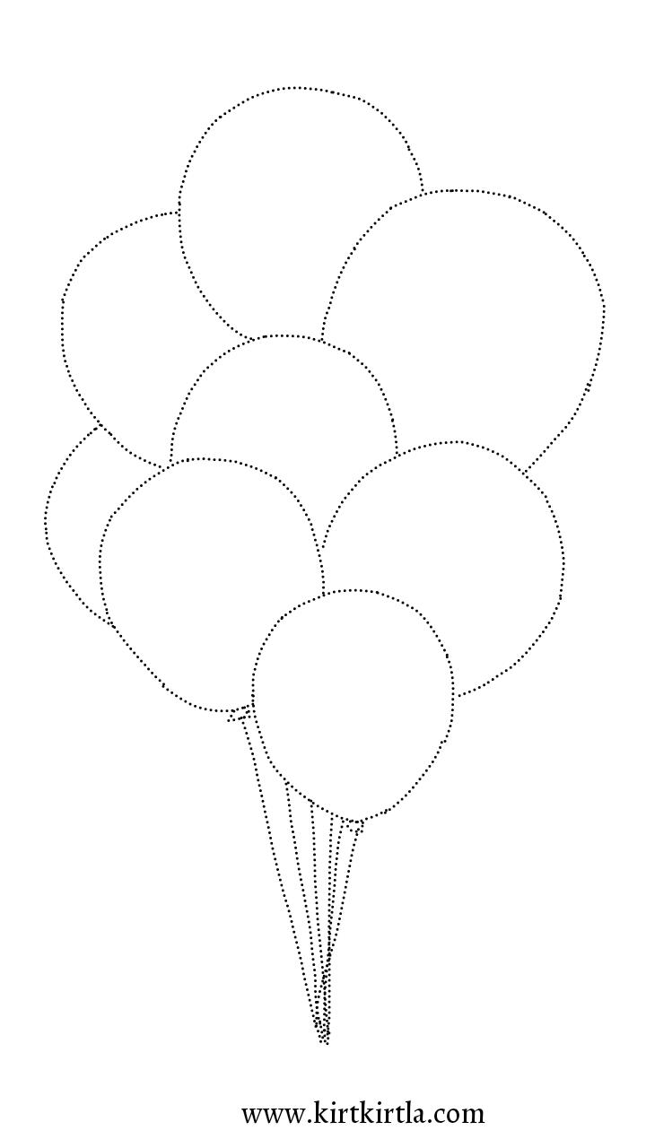 Cizgileri Birlestir Balon Boyama Sayfasi Kirtkirtla