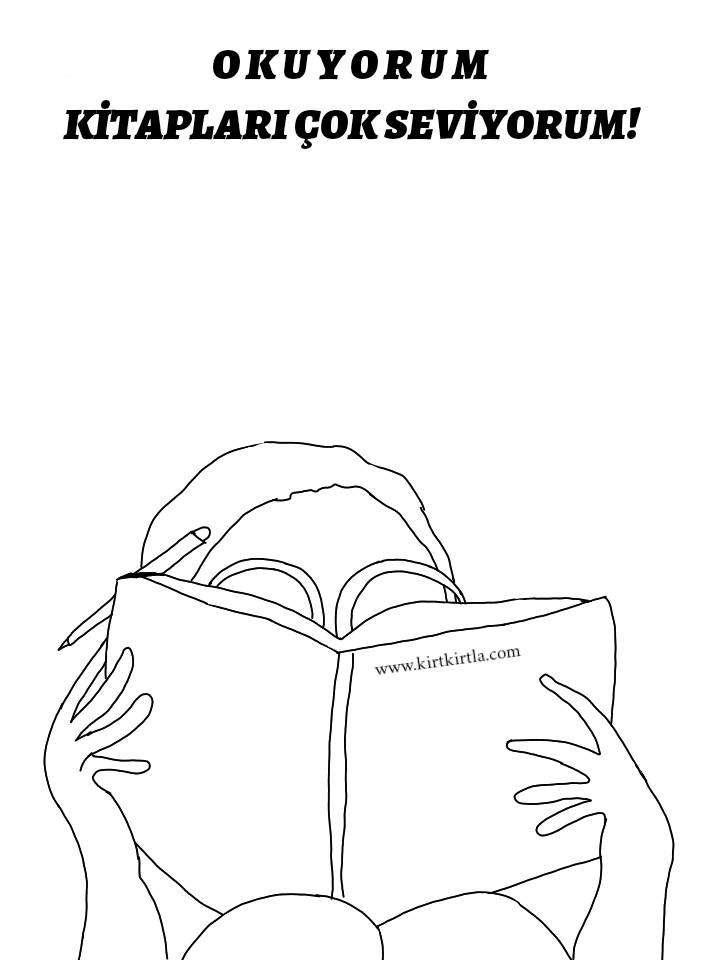 Boyama Sayfası Kitap Okuyan çocuk Kirtkirtla