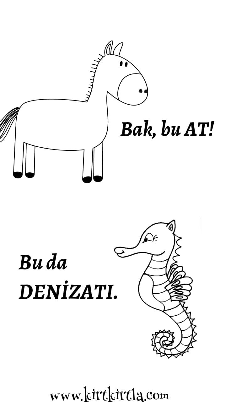 at ve denizatı boyama sayfası