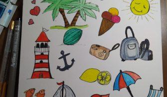 Yaz temalı Doodles Çalışması