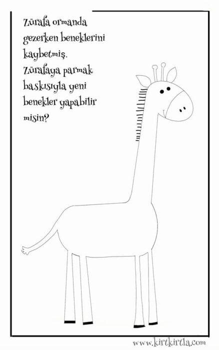 zürafa parmak boyama
